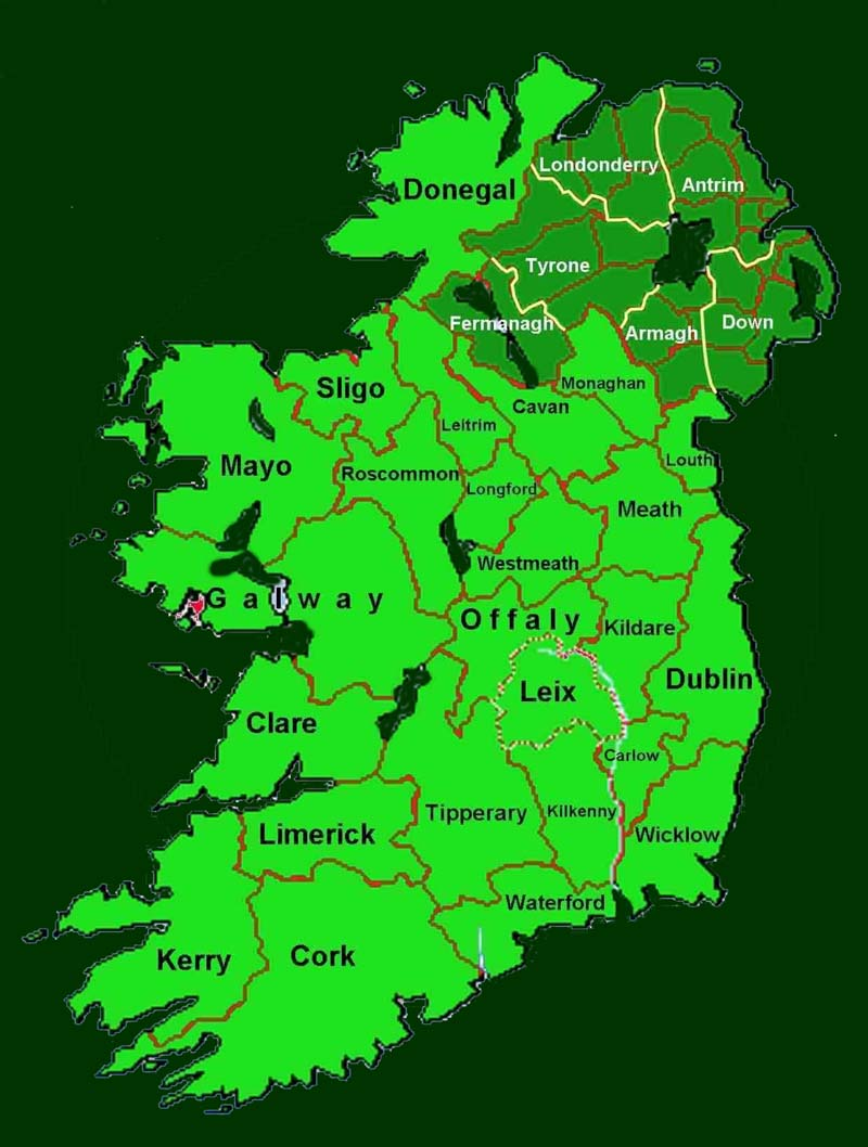 Map of ireland gumiabroncs Gallery